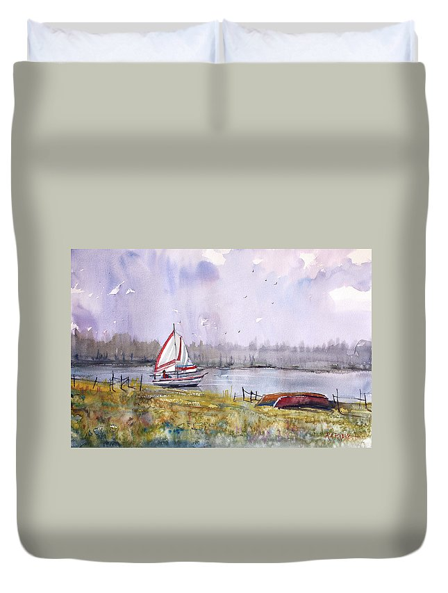 Ryan Radke Duvet Cover featuring the painting Sailing On White Sand Lake by Ryan Radke