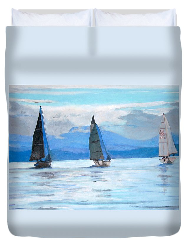 Boat Duvet Cover featuring the painting Sailing Race by Teresa Dominici