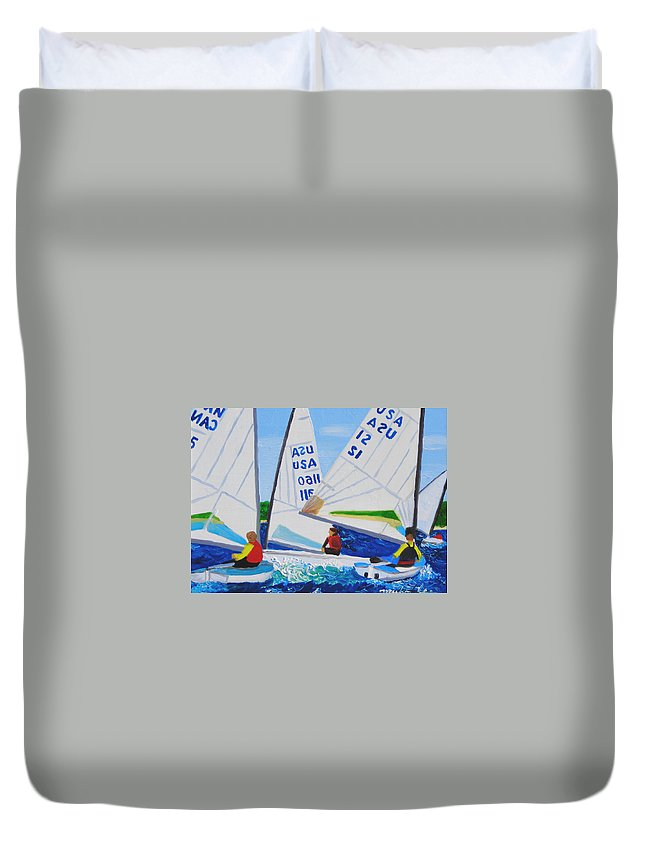 Sailboats Duvet Cover featuring the painting Sailing Regatta by Michael Lee