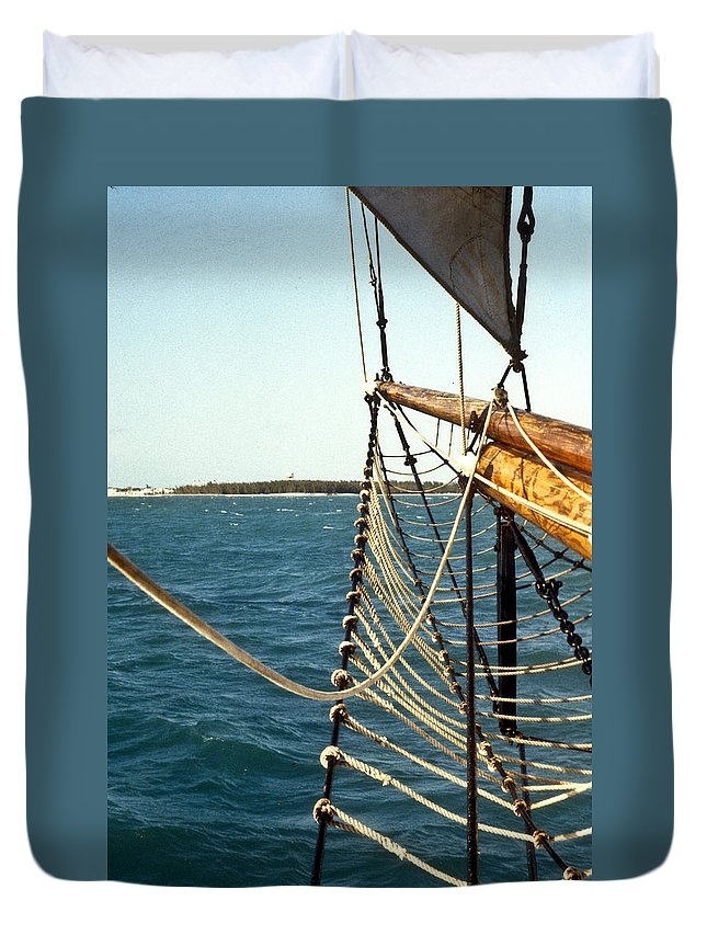 Sailing Duvet Cover featuring the photograph Sailing Ship Prow On The Caribbean by Douglas Barnett