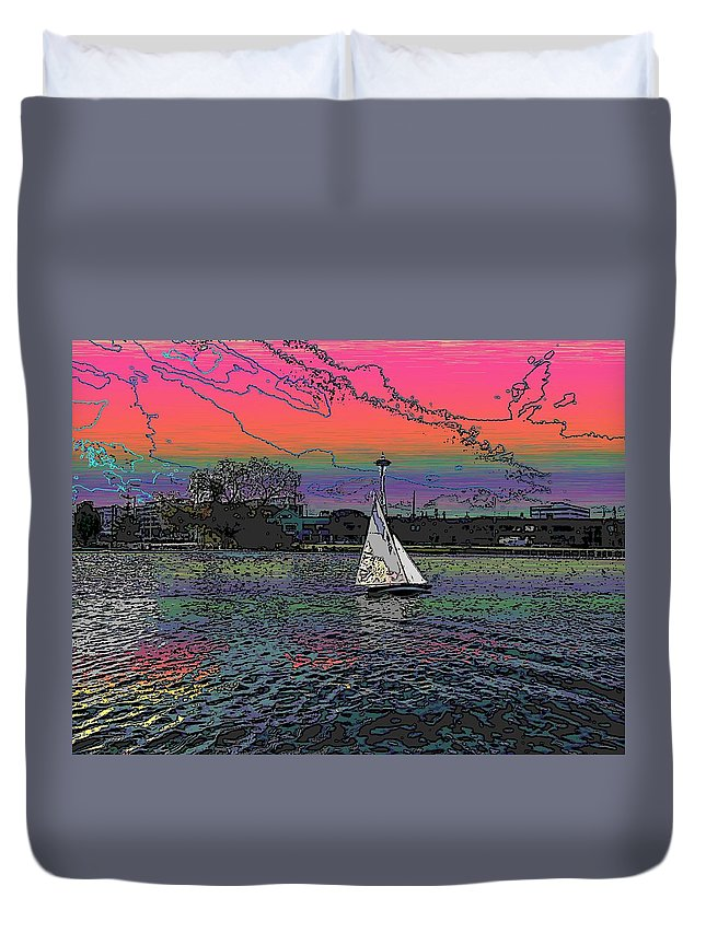 Sail Duvet Cover featuring the digital art Sailing South Lake Union by Tim Allen