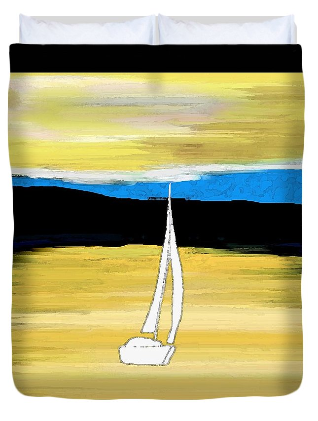 Sailing Sunset Duvet Cover featuring the painting Sailing Sunset by Priscilla Wolfe