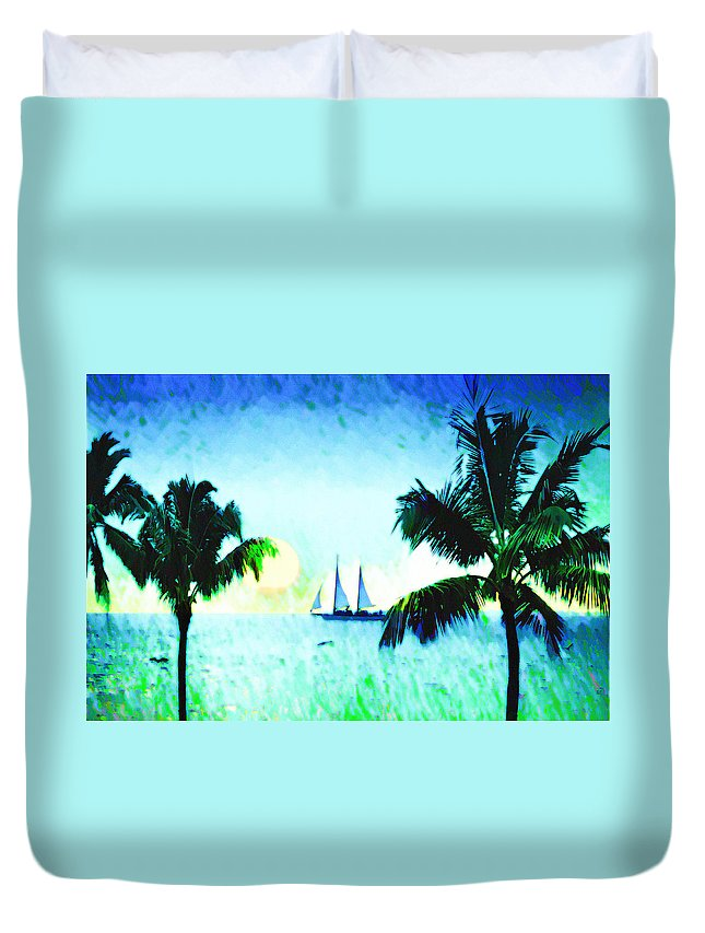 Sailing The Keys Duvet Cover featuring the photograph Sailing The Keys by Bill Cannon