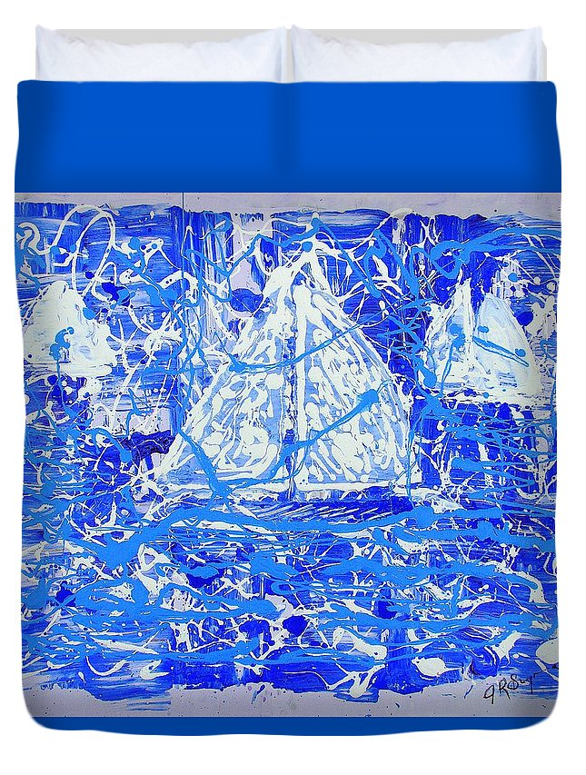 Sailing Duvet Cover featuring the painting Sailing With Friends by J R Seymour