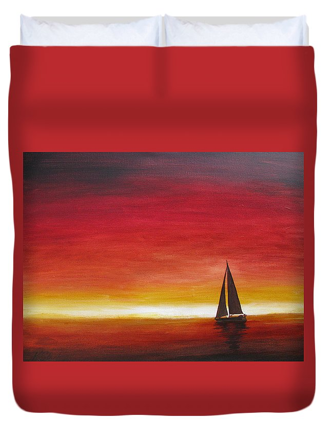 Sunset Duvet Cover featuring the painting Sailors Delight by Karen Stark