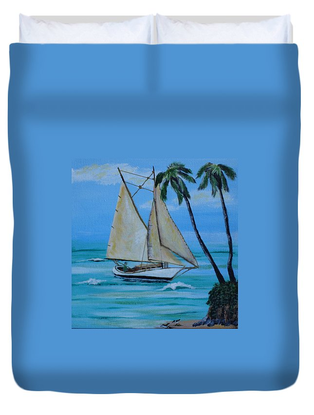 Sailboat Duvet Cover featuring the painting Sailor's Dream by Susan Kubes