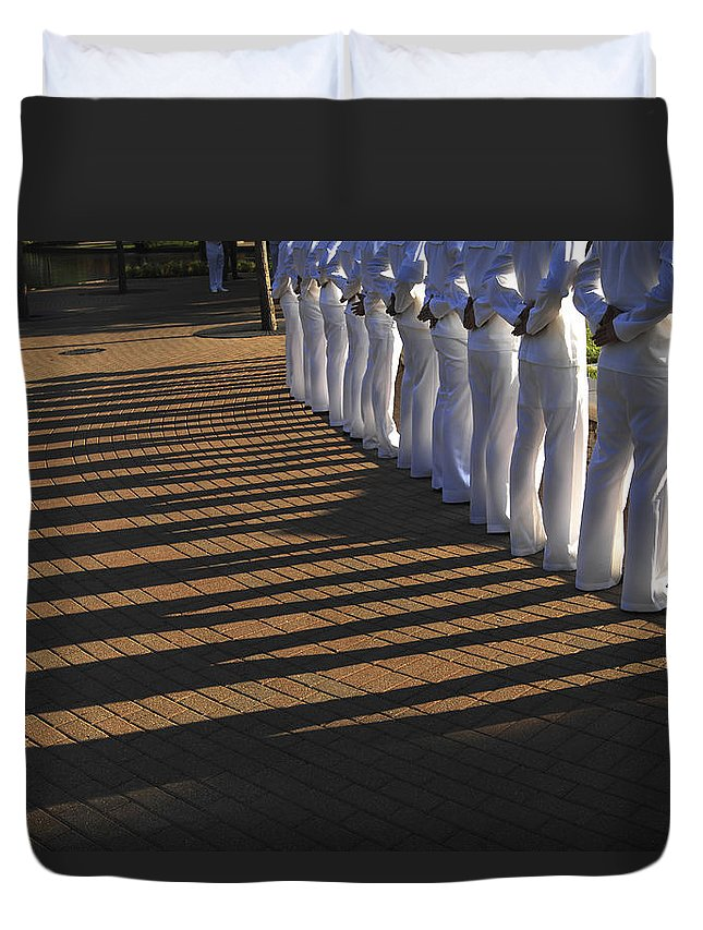 Standing Duvet Cover featuring the photograph Sailors Stand At Parade Rest by Stocktrek Images