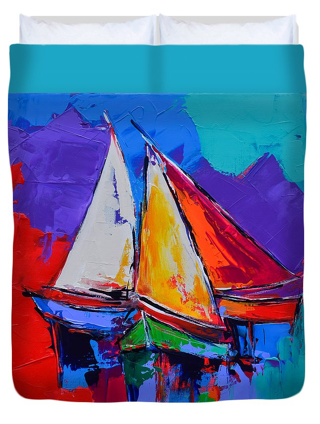 Sails Duvet Cover featuring the painting Sails Colors by Elise Palmigiani