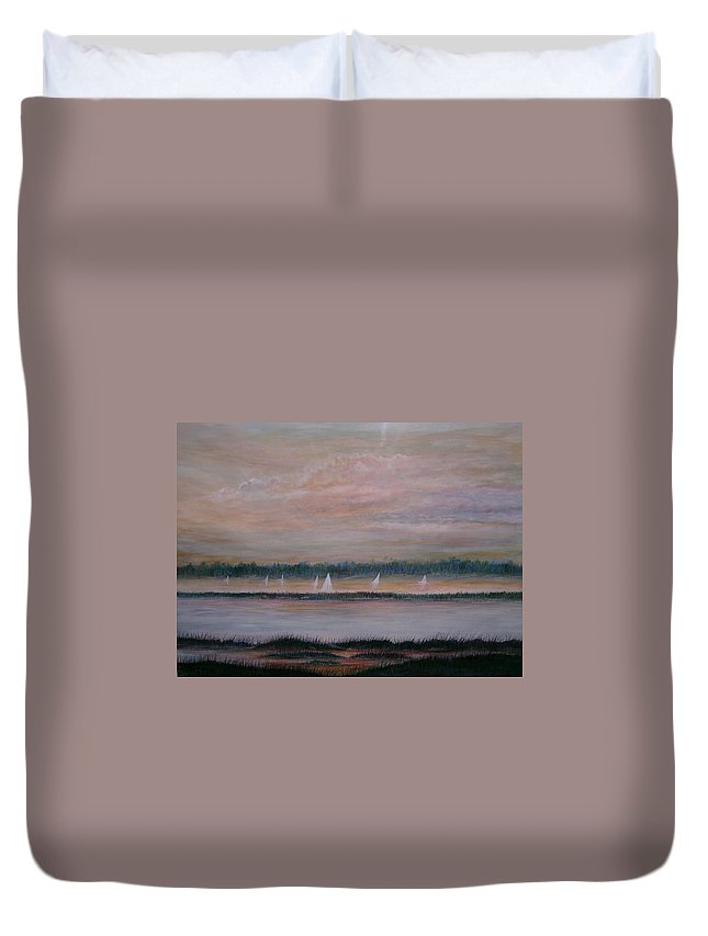 Sailboats; Marsh; Sunset Duvet Cover featuring the painting Sails In The Sunset by Ben Kiger