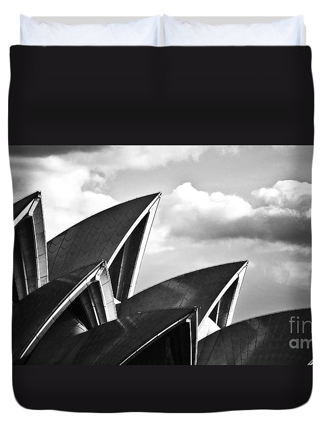 Sydney Opera House Monochrome Black And White Icon Duvet Cover featuring the photograph Sails Of Sydney Opera House by Sheila Smart Fine Art Photography