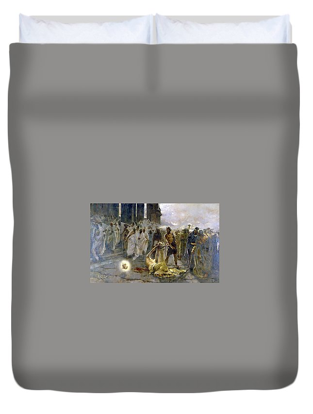 Saint Alban Duvet Cover featuring the digital art Saint Alban by Dorothy Binder