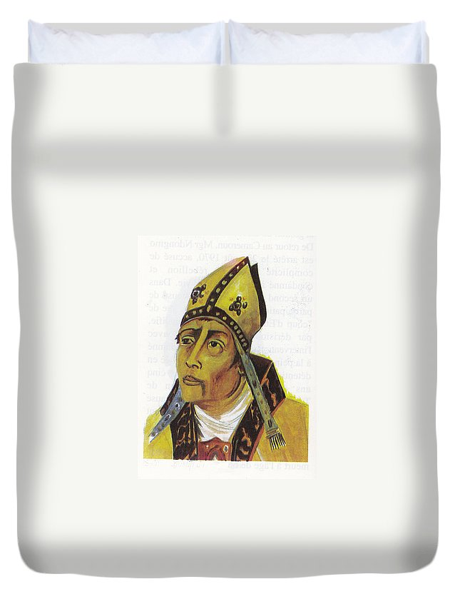 Religion Duvet Cover featuring the painting Saint Augustin Hippone by Emmanuel Baliyanga