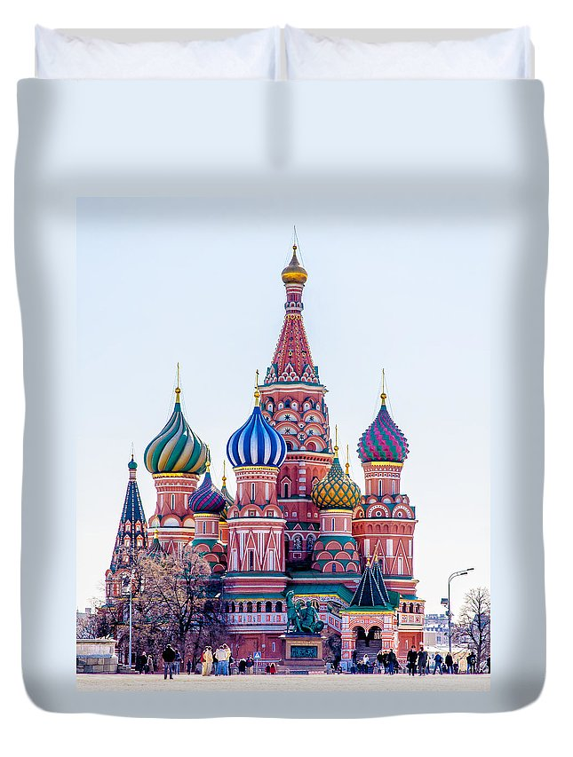 Moscow Duvet Cover featuring the photograph Saint Basils Cathedral by Alain De Maximy
