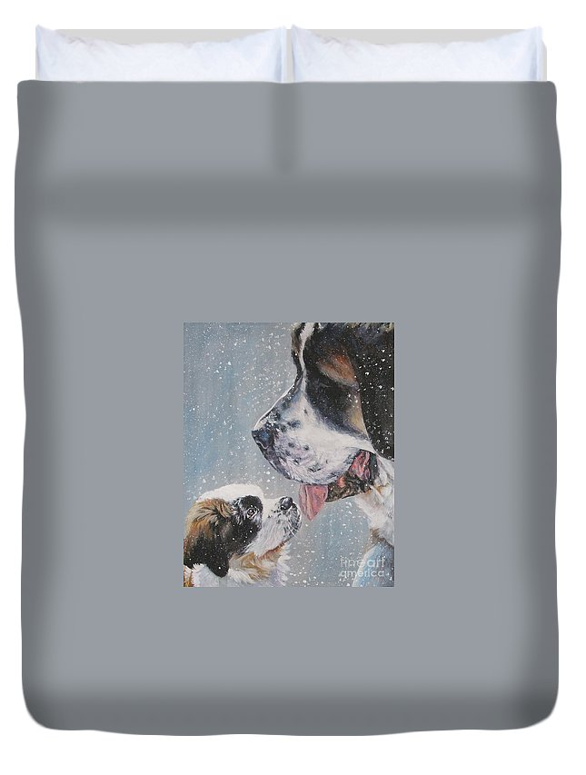 Dog Duvet Cover featuring the painting Saint Bernard Dad And Pup by Lee Ann Shepard