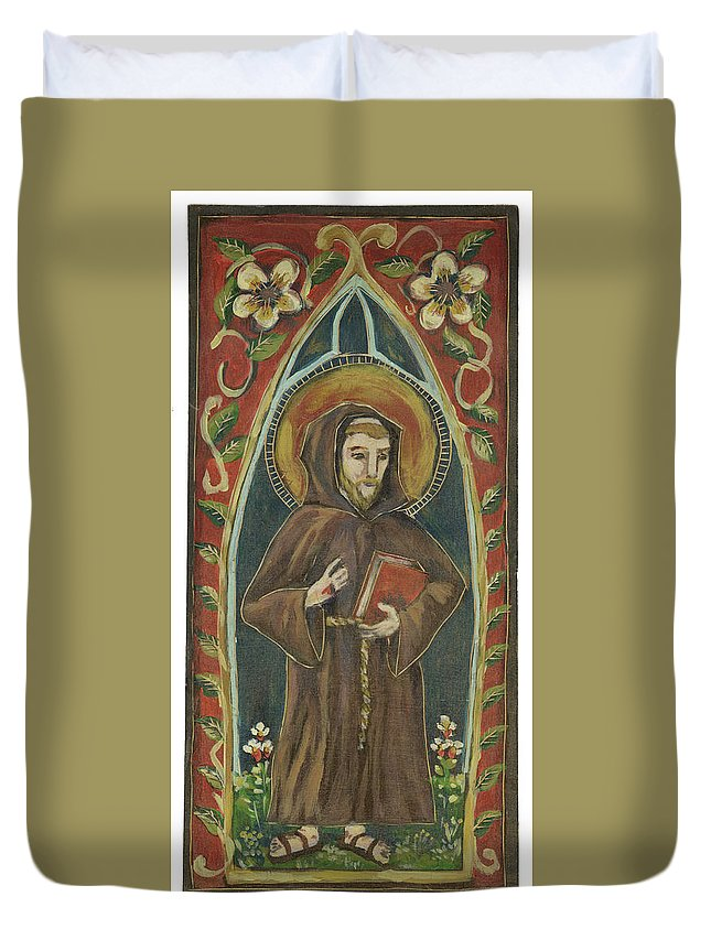 Saint Duvet Cover featuring the painting Saint Francis by Jordan Elam
