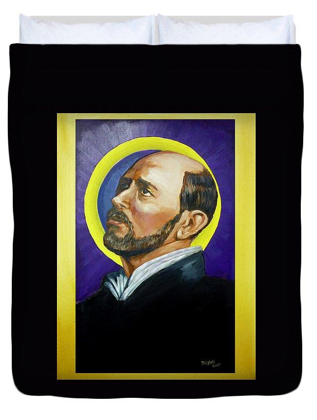 Saint Duvet Cover featuring the painting Saint Ignatius Loyola by Bryan Bustard