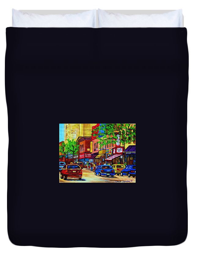 Cityscape Duvet Cover featuring the painting Saint Lawrence Street by Carole Spandau