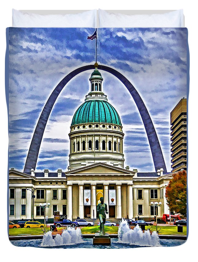 Travel Duvet Cover featuring the photograph Saint Louis Icons by Dennis Cox