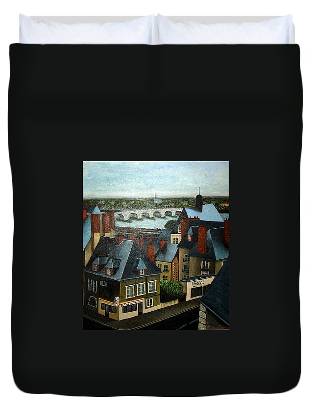 Acrylic Duvet Cover featuring the painting Saint Lubin Bar In Lyon France by Nancy Mueller