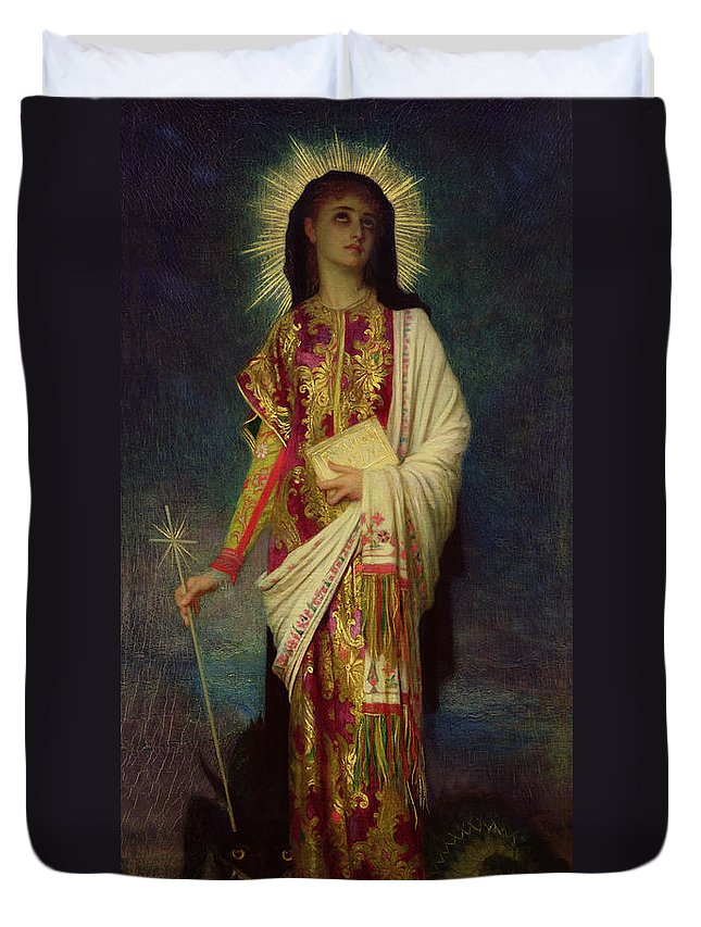 Margaret Duvet Cover featuring the painting Saint Margaret Slaying The Dragon by Antoine Auguste Ernest Herbert
