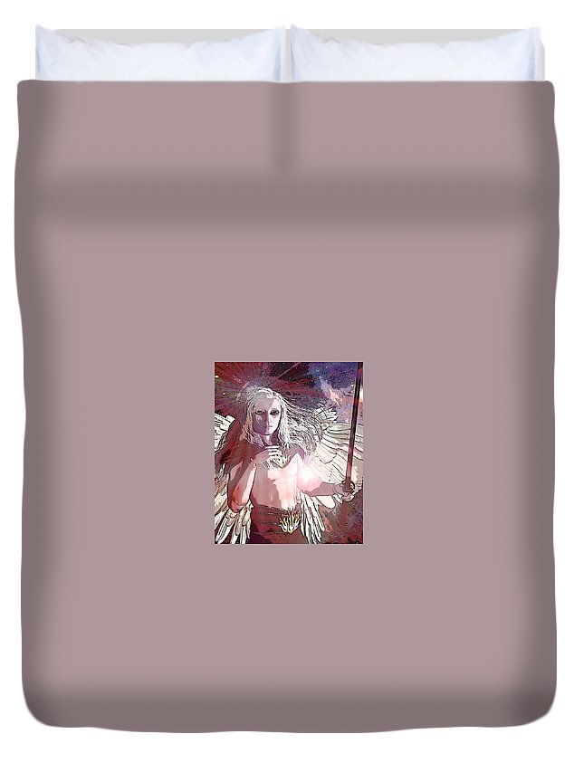 Saint Michael The Archangel Duvet Cover featuring the painting Saint Michael Doll 2 by Suzanne Silvir