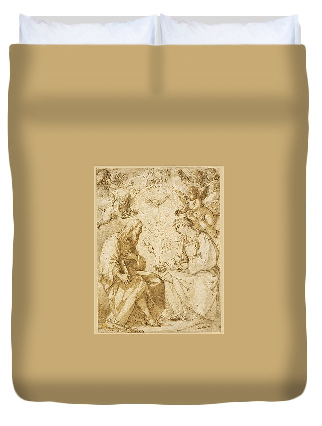 Giovanni Baglione Duvet Cover featuring the drawing Saint Paul And Saint Stephen Crowned By Angels by Giovanni Baglione