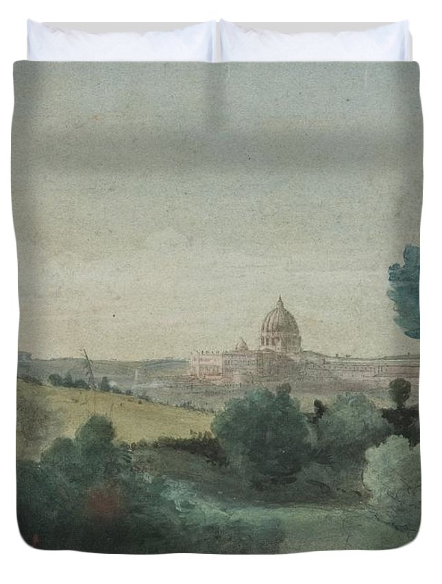 Saint Peter Seen From The Campagna Duvet Cover featuring the painting Saint Peter's Seen From The Campagna by George Snr Inness