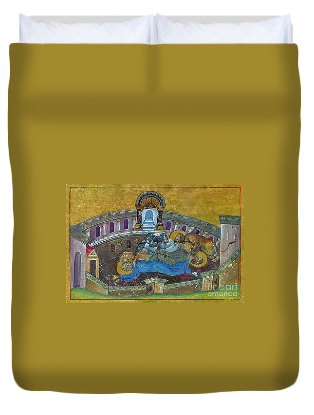 10th Century Duvet Cover featuring the painting Saint Silvanus Of Emesa by Granger