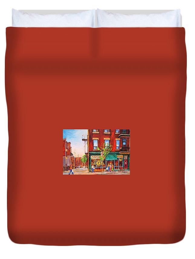 Montreal Duvet Cover featuring the painting Saint Viateur Bagel by Carole Spandau