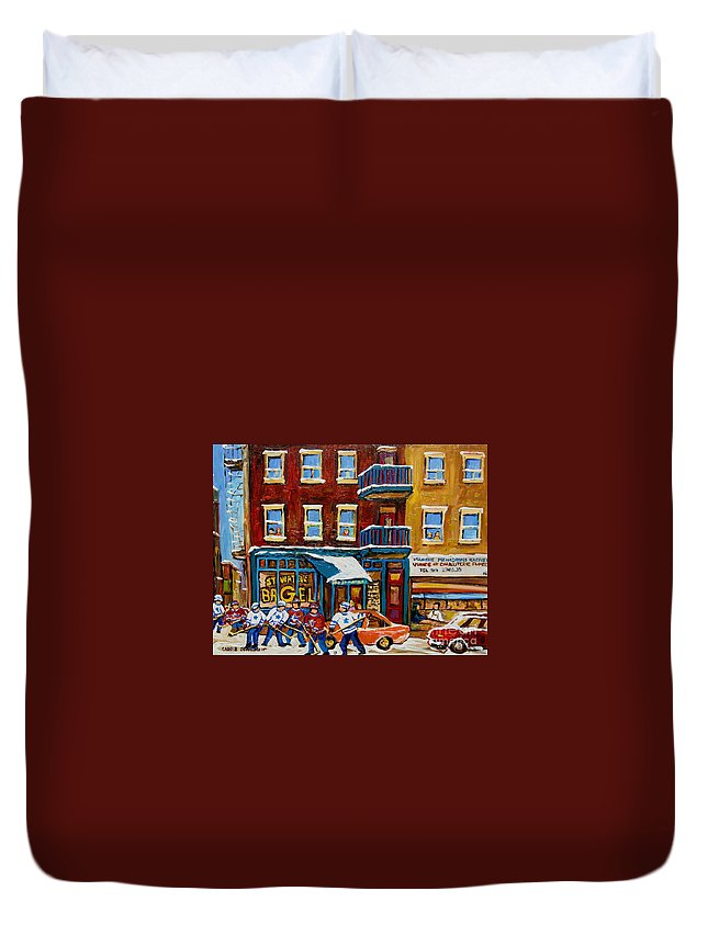 Montreal Duvet Cover featuring the painting Saint Viateur Bagel With Hockey by Carole Spandau