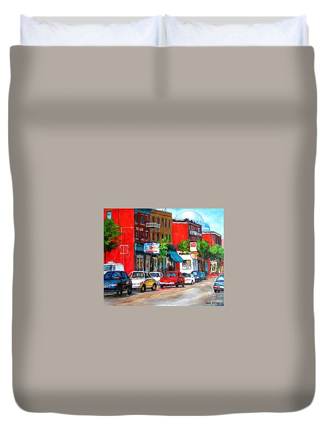 St.viateur Bagel Duvet Cover featuring the painting Saint Viateur Street by Carole Spandau