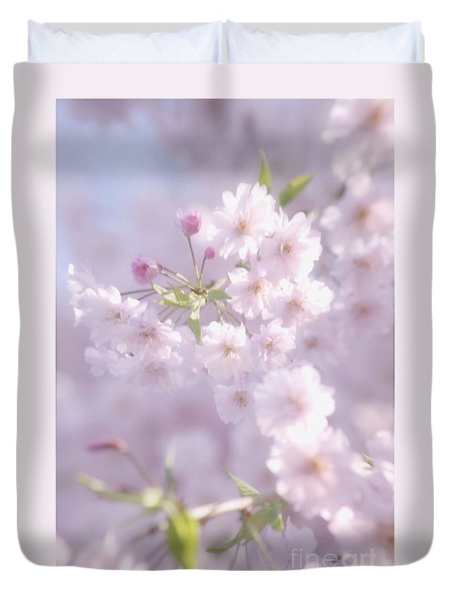 Cherry Blossoms Duvet Cover featuring the photograph Sakura Trees by Luv Photography