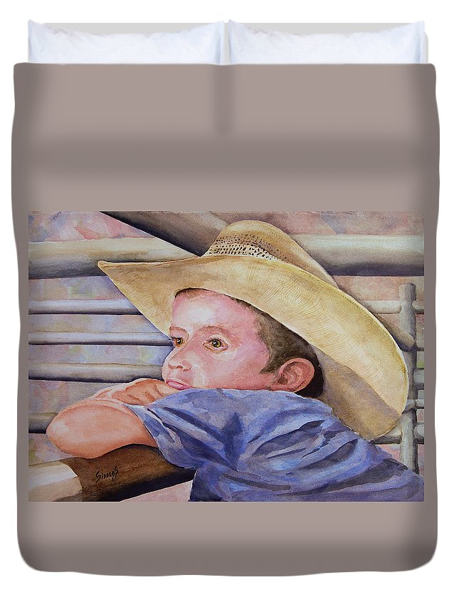 Sale Duvet Cover featuring the painting Sale Day by Sam Sidders