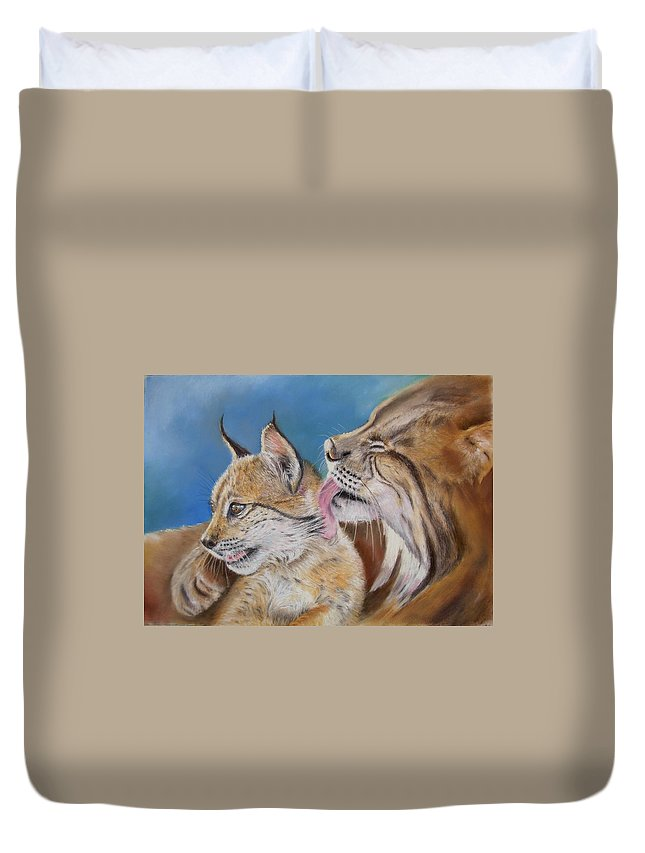 Iberian Lynx Duvet Cover featuring the painting Saliega Y Brezo by Ceci Watson