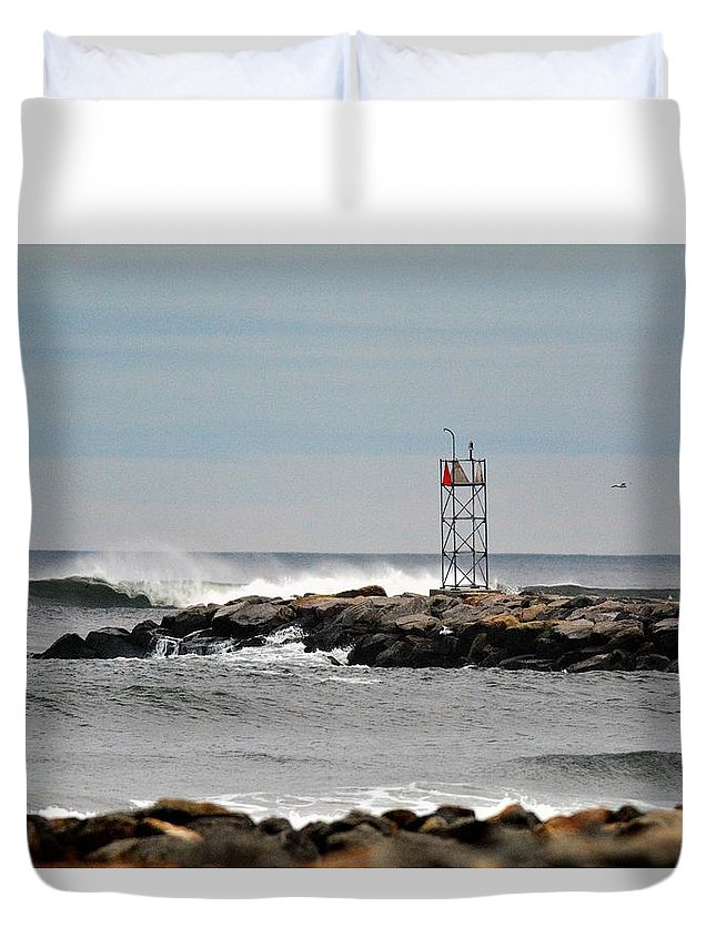 Salisbury Beach Duvet Cover featuring the photograph Salisbury Beach Jetty by Jo-Ann Matthews