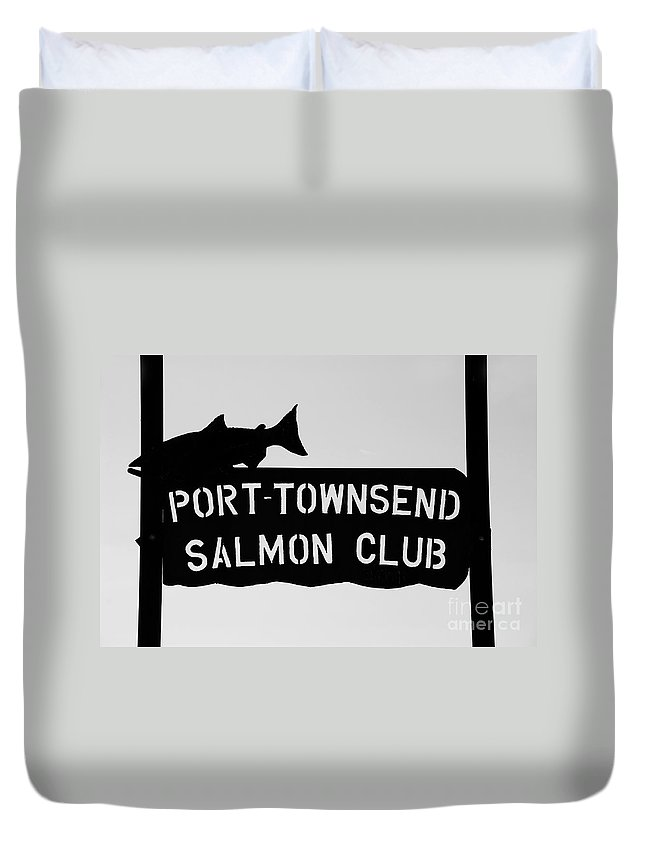 Port Townsend Salmon Club Duvet Cover featuring the photograph Salmon Club by David Lee Thompson