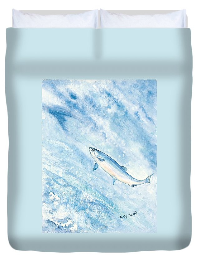 Fish Duvet Cover featuring the painting Salmon by Mary Tuomi