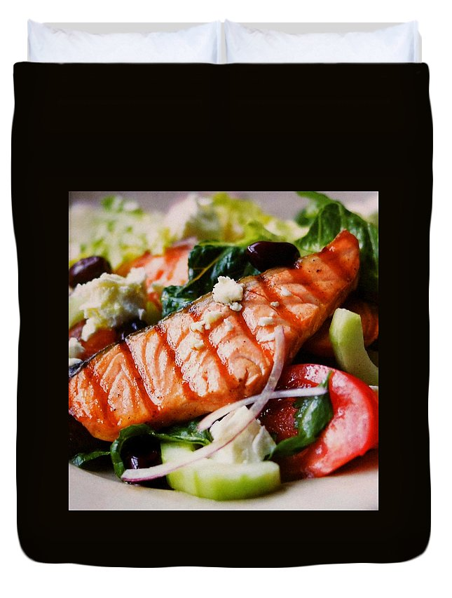 Figs Duvet Cover featuring the photograph Salmon Salad by Lord Frederick Lyle Morris - Disabled Veteran