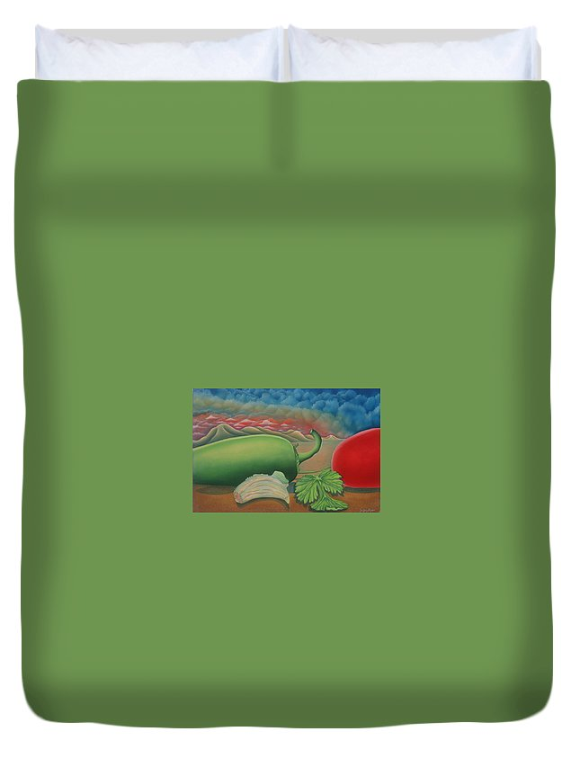 Vegetables Duvet Cover featuring the painting Salsa Across Texas by Jeniffer Stapher-Thomas