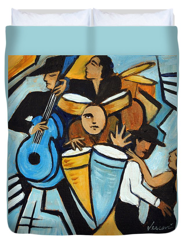 Cubist Salsa Dancers Duvet Cover featuring the painting Salsa Night by Valerie Vescovi