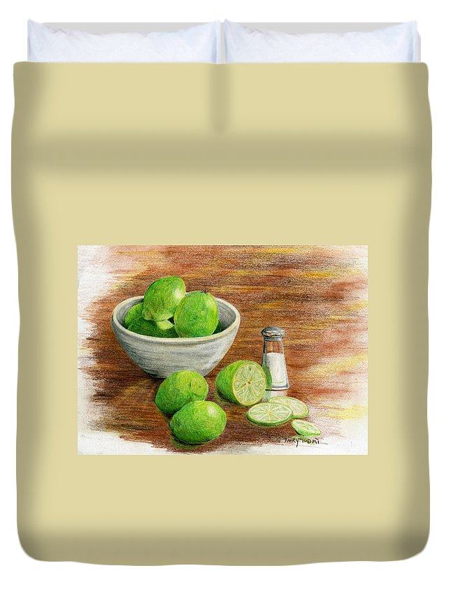 Fruit Duvet Cover featuring the painting Salt And Lime by Mary Tuomi