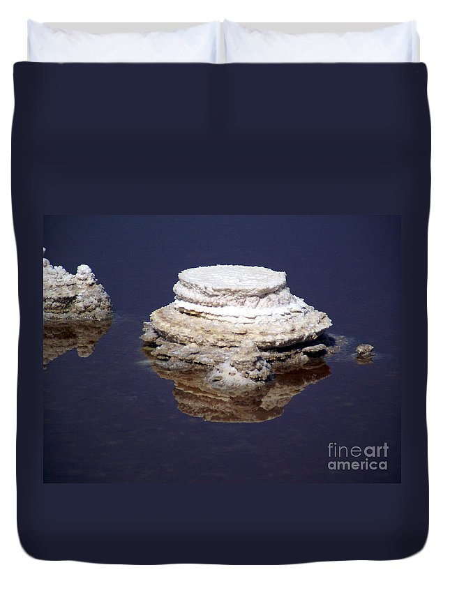 Salt; Formation Duvet Cover featuring the photograph salt cristal at the Dead Sea Israel by Avi Horovitz