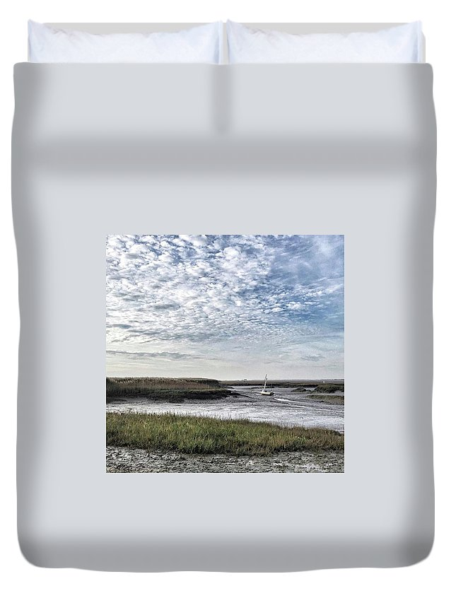Beautiful Duvet Cover featuring the photograph Salt Marsh And Creek, Brancaster by John Edwards