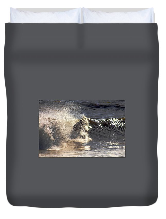 Clay Duvet Cover featuring the photograph Salt Spray Surfing by Clayton Bruster
