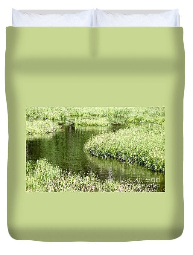 Salt Marsh Duvet Cover featuring the photograph Salty Way by Tim Lent