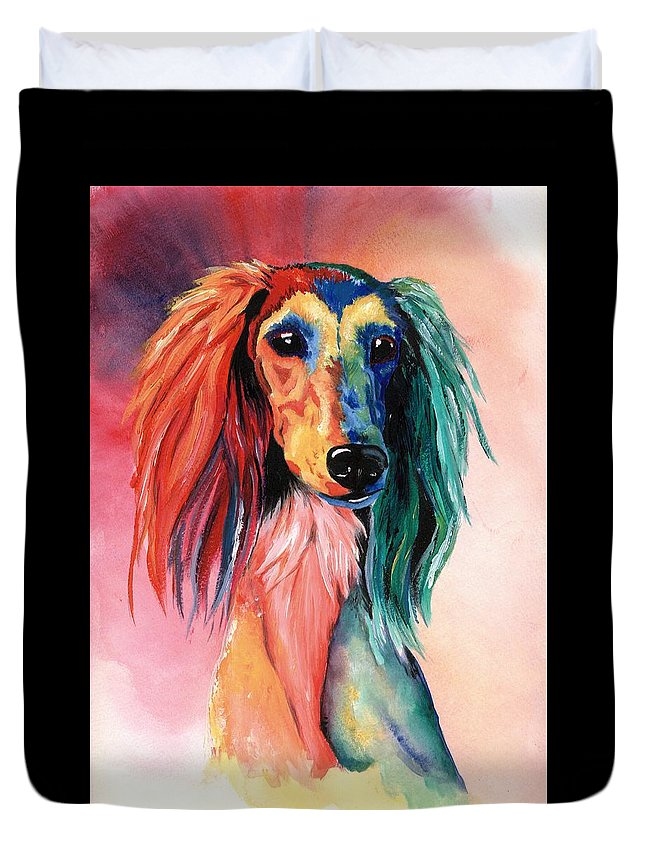 Saluki Duvet Cover featuring the painting Saluki Sunset by Kathleen Sepulveda