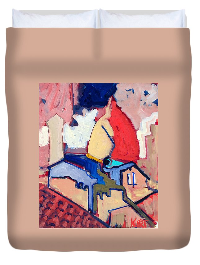 Florence Duvet Cover featuring the painting Salutare by Kurt Hausmann