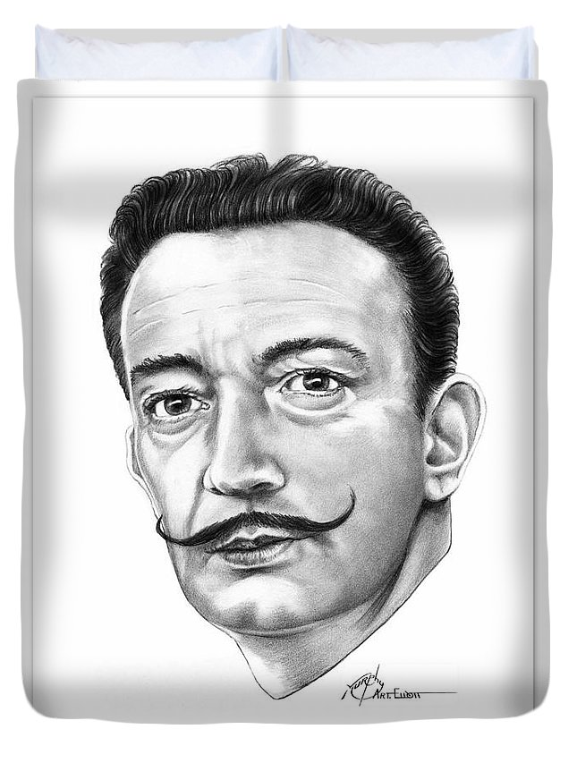 Drawing Duvet Cover featuring the drawing Salvador Dali by Murphy Elliott