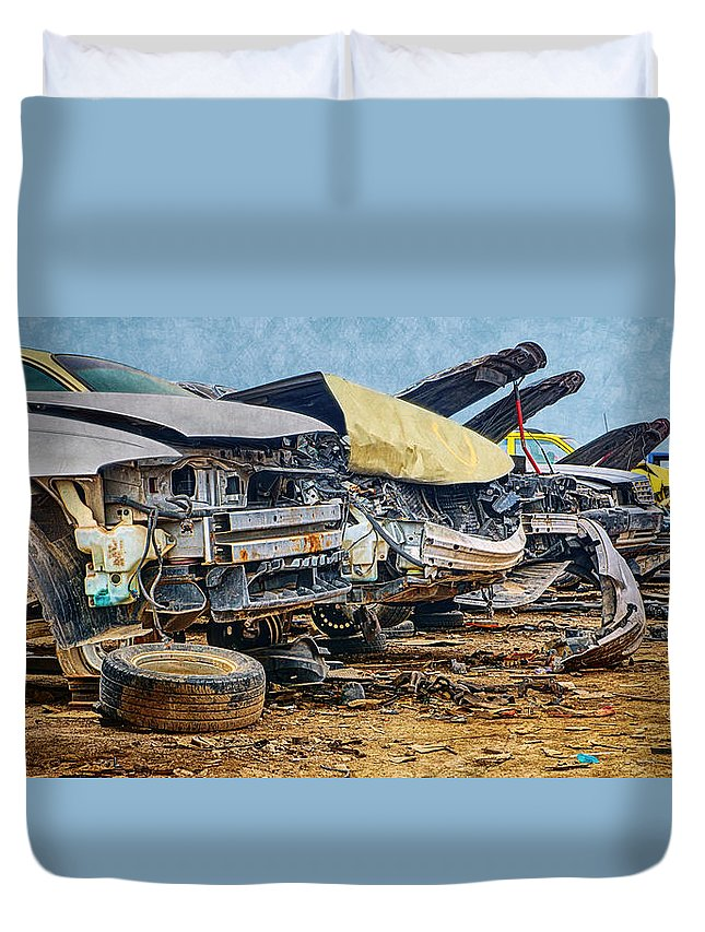 Salvage Yard Duvet Cover featuring the photograph Salvage Yard - Panorama by Nikolyn McDonald