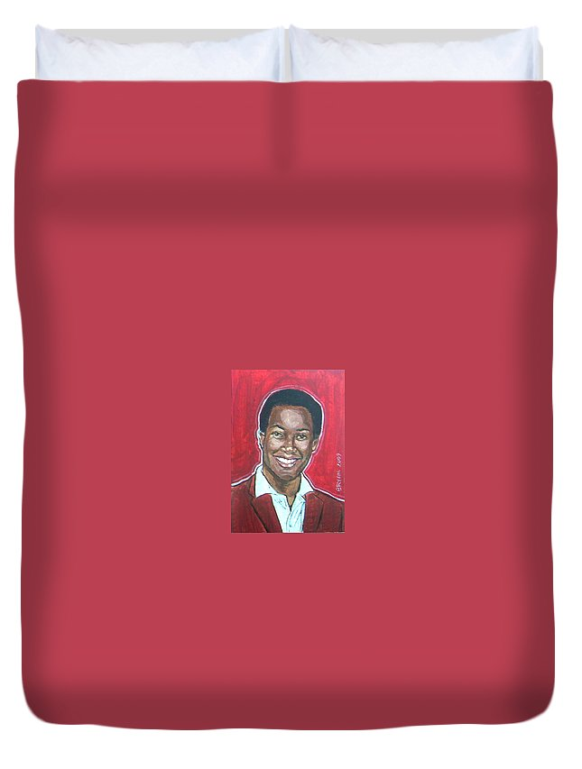 Sam Cooke Duvet Cover featuring the painting Sam Cooke by Bryan Bustard